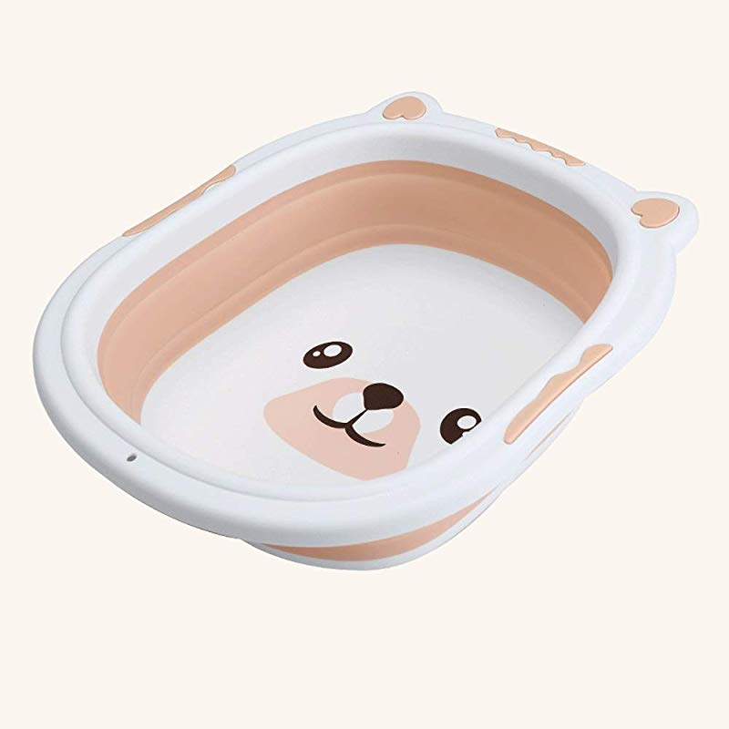 ZHAIZX Baby Folding Washbasin Thickening Baby Wash Basin Newborn Pot Children Portable Travel Wash Foot Color Orange Size Small