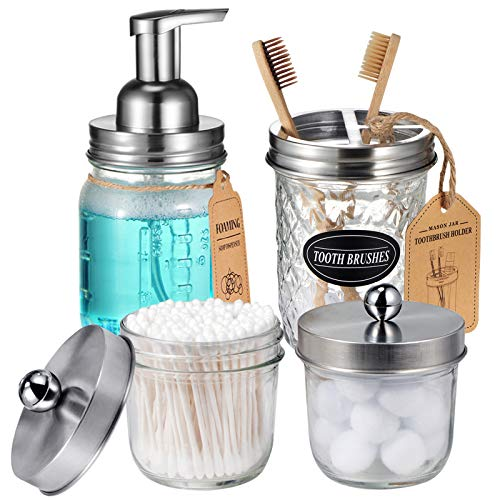 Mason Jar Bathroom Accessories Set(4 Pack) - Foaming Soap Dispenser&Qtip Holder Set&Toothbrush...