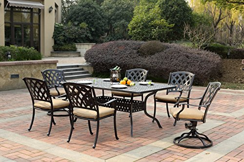 Darlee 201630-7PC-30RE Cast Aluminum 7 Piece Rectangle Dining Set & Seat Cushions, 42' by 72', Antique Bronze