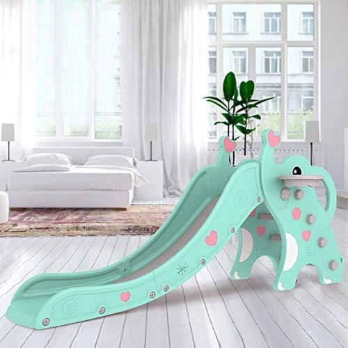 Slide Interior de los niños Multifuncional Espesado Peplastic Diapositivas, Pedal Imagen de Caricatura, Antideslizante, con el Marco de Baloncesto, Adecuado for niños 1-6 años WTZ012 (Color : Pink)