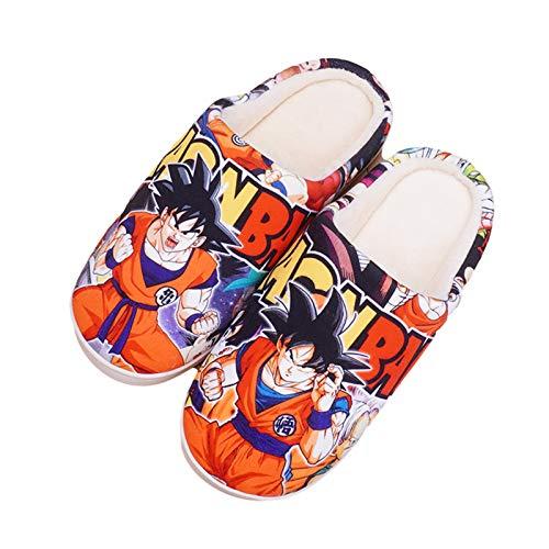 Pantoffeln Plüsch Hausschuhe Dragon Ball Anime Cartoon Son Goku Weiche Kuschelige Home rutschfeste Drinnen Und Draußen Unisex Super Soft Winter Warm Herren Damen Slippers,UK 3~4/EU 36~37(260)