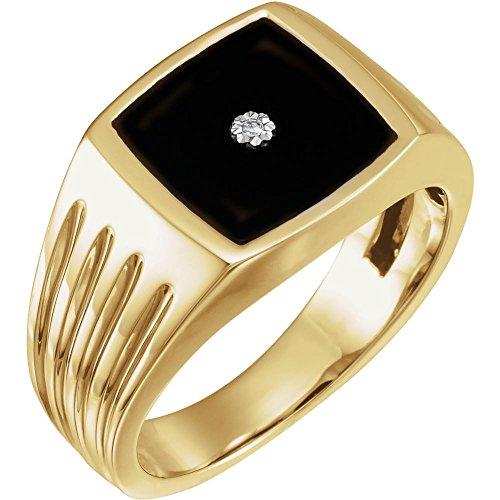 Anillo de oro amarillo de 14 quilates para hombre con ónix simulado y 5 diamantes Dwt tamaño V 1/2 joyería regalos para hombres