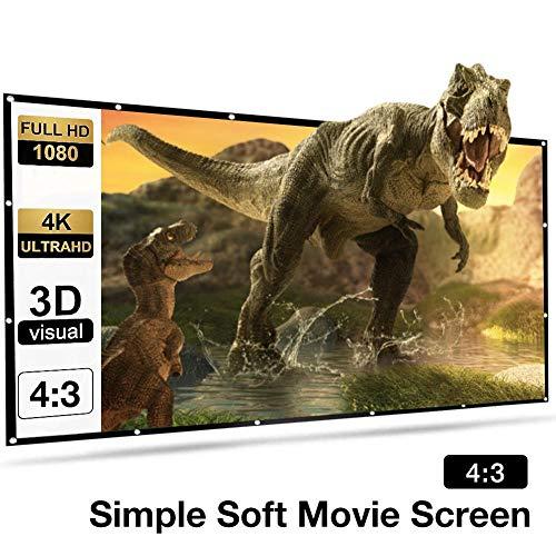 Beamer Leinwand 150 Zoll 300x220cm 4:3 Keine Falte tragbar Projektion Leinwand 4K HD 3D Projektionsfläche