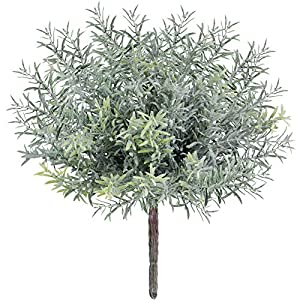 3 Pack Artificial Flocked Rosemary Bushes Faux Rosemary Plants Rosemary Greenery Shrubs Spray for Table Centerpiece Wedding Bouquets Indoor Outdoor Greenery Décor 7.9″ Tall
