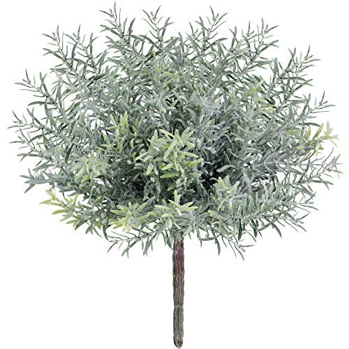 4 Pack Artificial Flocked Rosemary Bushes Faux Rosemary Plants Rosemary Greenery Shrubs Spray for Table Centerpiece Wedding Bouquets Indoor Outdoor Greenery Décor 7.9