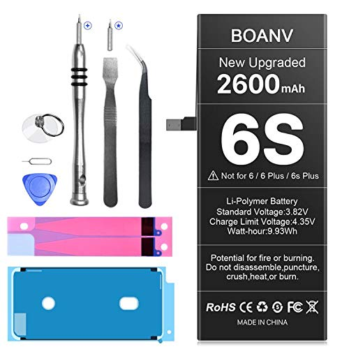 BOANV 2600mAh Battery for iPhone 6s [Upgraded], Ultra High Capacity Replacement New 0 Cycle Battery, with Professional Replacement Tool Kits - 1 Year Service