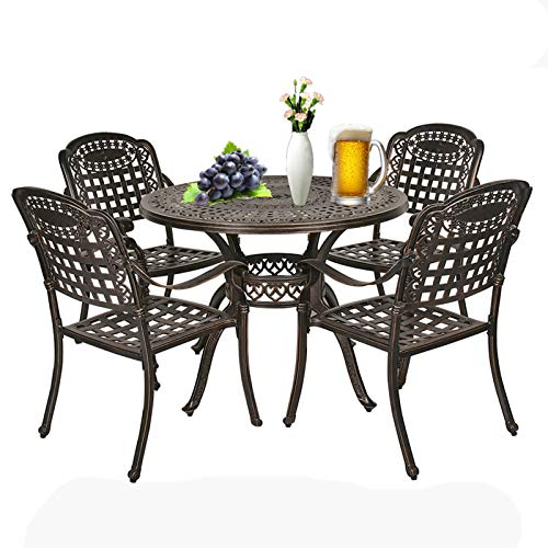 IPKIG Cast Aluminum Patio Dining Set 5 Pieces, Wrought Iron Patio Furniture Outdoor Round Table and 4 Chairs for Lawn, Garden, Balcony, Backyard, Umbrella Hole, Anti-Rust, Lattice Design (Ronud-2)