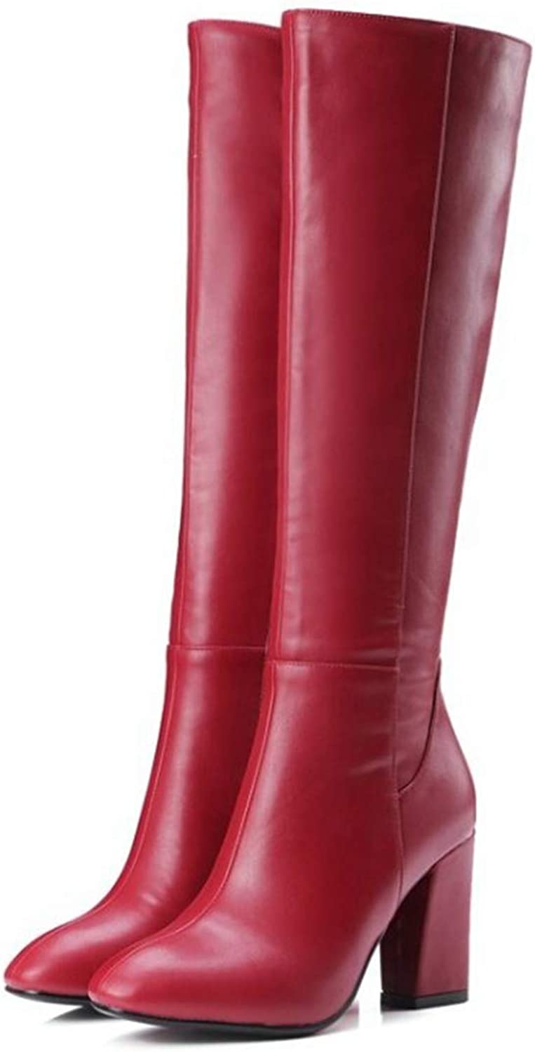 Women's Autumn Winter High Boots Zippers Boots Large Size shoes High Heeled Knee Knight Boots