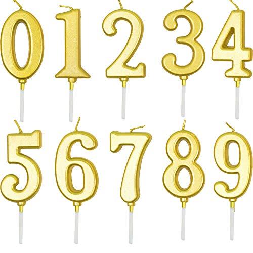 Geburtstag Zahl Kerzen, 10 Stück Geburtstag Cake Topper Zahl Kerzen 0-9 Gold Glitzer Geburtstagskerzen Tortendeko Nummer Kerzen Kuchen Topper Nummer Digitale Kerzen für Geburtstagsfeier Hochzeit