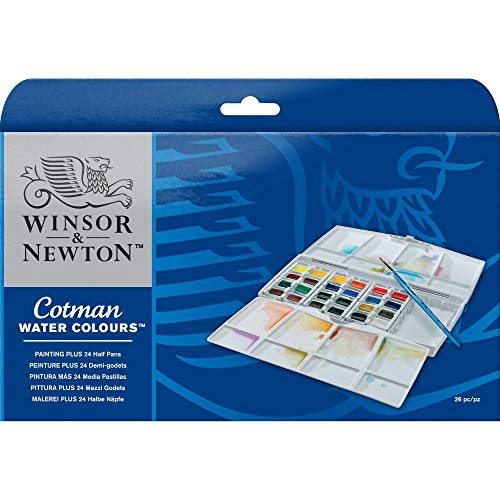 Winsor & Newton Cotman Water Colour Painting Plus Set, Set of 24, Half Pans, Multicolored, 24 Count
