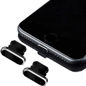 Anti Dust Plugs (2 Pack) Compatible with iPhone 11, 11Pro, X, XS, XR, 8, 7, 6 Plus, Max,Dust Cap,Premium Aluminum- Dust Protection- anti dust plugs for iphone (Black)