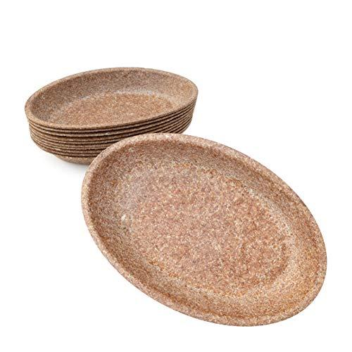 Wisefood - Schale - Einwegschale aus Weizenkleie als Alternative zu Pappschale Plastik-Schüssel Suppenterrine Partyteller - Geeignet für Grillfest Party Ausflug - nachhaltig - 24cm lang 10 Stück