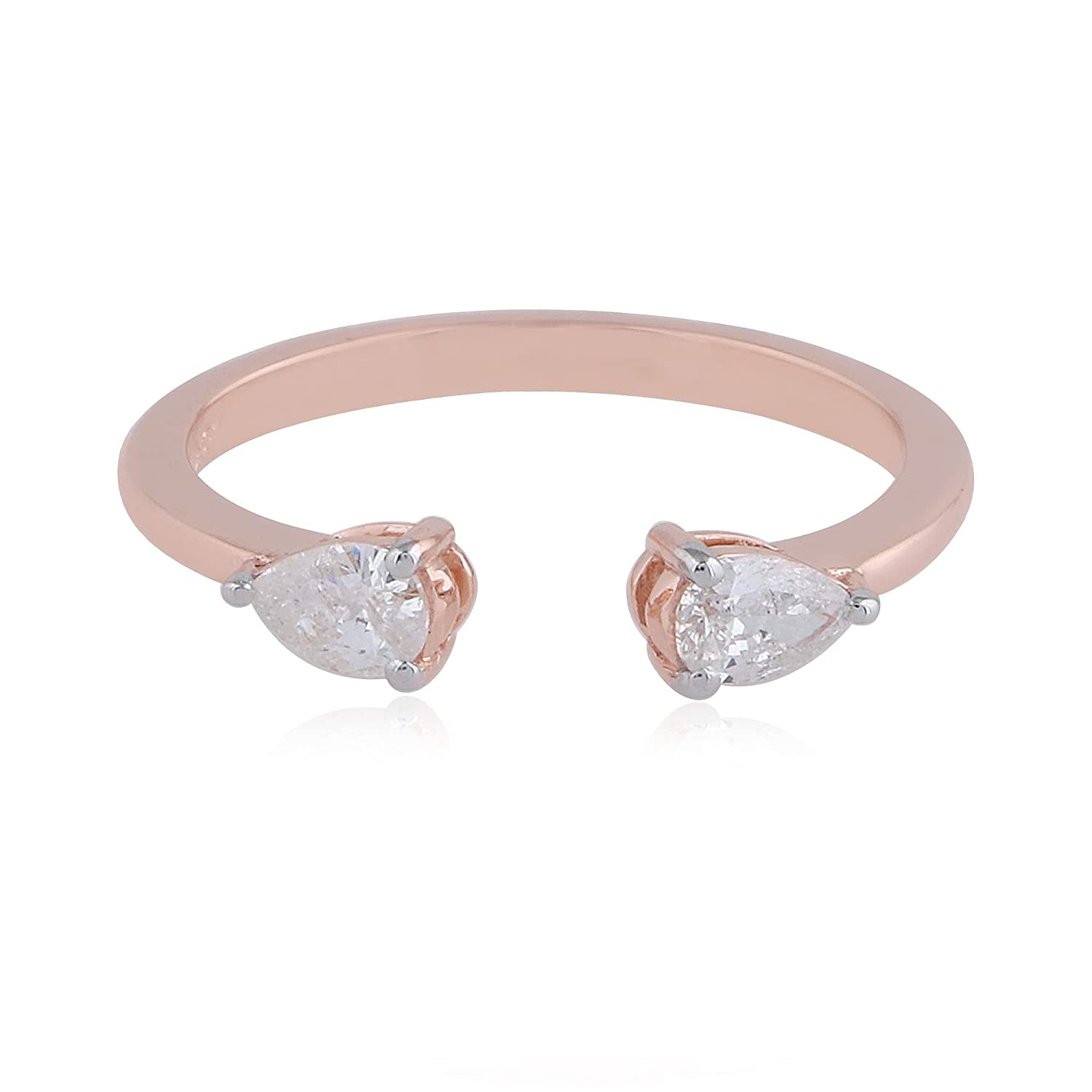 Natural 0.35 Ct. Pear Diamond Cuff Solid Band 14k Ring Gold Rose Max 81% Limited time for free shipping OFF