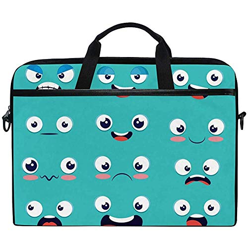 Laptop Sleeve Case,Cute Emoji Smile Face Briefcase Messenger Notebook Computer Bag With Shoulder Strap Handle,14-14.5 Inch