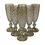 Homevibes Juego de 6 Copas de Champan/Cava, 6x20, Diseño Retro, Cristal De Calidad, Muy Resistente (Cristal Beige)