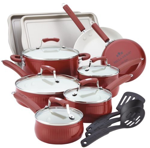 Paula Deen 14275 Savannah Collection 17 Piece Cookware Set, Red