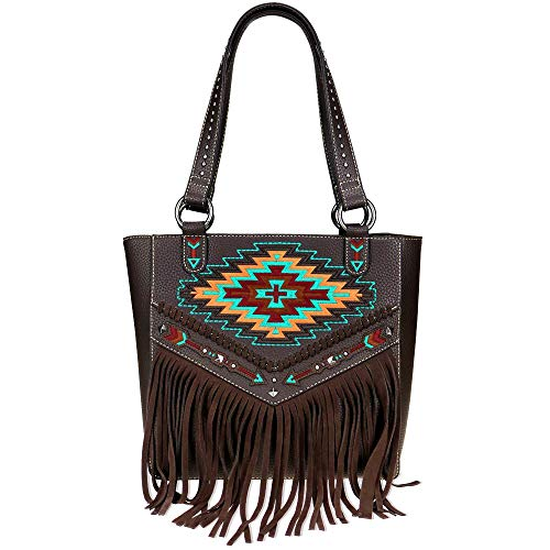 Montana West Leather Aztec Fringes Hobo Bag Concealed Carry Tote Bag For Women