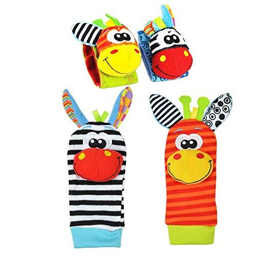 NA - Calcetines para bebé (4 unidades), diseño de animales suaves y portátiles