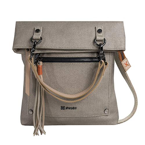 Sherpani Rebel, Hand-painted Canvas Crossbody Bag, Fashion Handbag, Designer Tote Bag for Women, with Vegan Leather Accents (Natural)