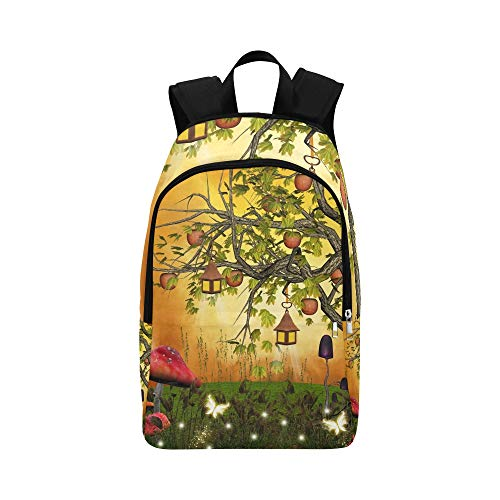 Baum-Äpfel-Laternen verzauberte Lichtung Stock Illustration Lässige Daypack Reisetasche College School Rucksack für Männer und Frauen