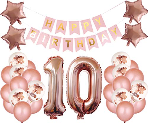 10th Birthday Party Decorations Kit Happy Birthday Banner with Number 10 Birthday Balloons for Birthday Party Supplies 10th Rose Gold Birthday Party Pack