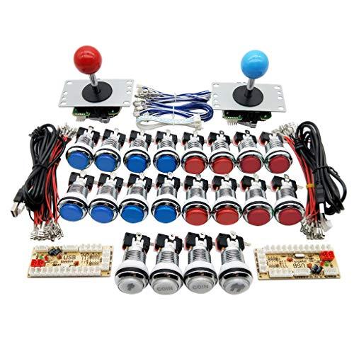 UEXCN Joystick-Set für Arcade-Spiele, USB-Encoder mit 5 V LED-Chrom-Knopf, macht Spaß zu Hause mit Freunden