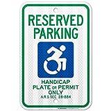UT-TP Reserved Handicap Parking Signo, Handicap Parking Only, 3M Engineer Grade Prismatic .080 Reflective OutPuerta Aluminum, 18' x 12' -, A87-422RA