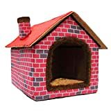 Ushang Pet Indoor Dog House for Small & Medium Dog, Red Brick Warm...