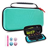 VENLING Carrying Case for Nintendo Switch Lite, Portable Hard Shell Carry Case for NS Lite with 19 Game Slots, Switch Lite Traveler Case with 4 Pcs Thumb Grips Caps and 2 Cable Ties, Turquoise