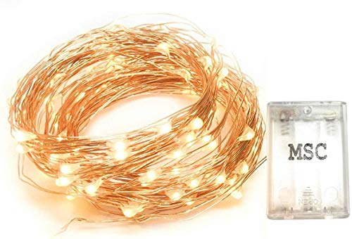 Fairy Lights MSC - 33 ft / 10M - 100 * LED Battery Powered Warm White Coloured String Fairy Lights On Copper Cable, Ideal for Christmas, Xmas, Party, Wedding Decoration Powered Batt-Warm-NoWp1