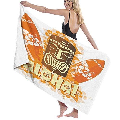Grande Suave Ligero Microfibra Toalla de Baño Manta,Hibiscus Flora Burst Naranja Tablas Surf Aloha Verano Tropical,Hoja de Baño Toalla de Playa por la Familia Hotel Viaje Nadando Deportes,52' x 32'