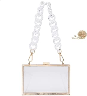 Fozehlad Women Clear Purse Acrylic Box Evening Clutch Bag Transparent Lovely Crossbody Shoulder Handbag Party Dinner Bag