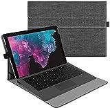 Fintie Hülle für Microsoft Surface Pro 7+/ Pro 7/ Pro 6/ Pro 5/ Pro 4/ Pro 3 12,3 Zoll Tablet - Multi-Sichtwinkel Hochwertige Tasche Schutzhülle aus Kunstleder, Type Cover kompatibel, Stoff dunkelgrau