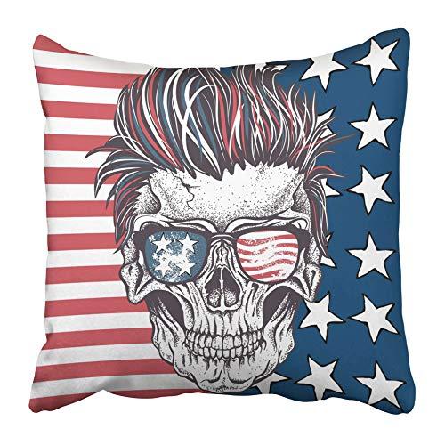 AEMAPE Throw Pillow Cases Face Skull Gafas de Sol Peinado en el Tatuaje Abstracto Diseño Anatomía 40X40 Cm Funda de cojín