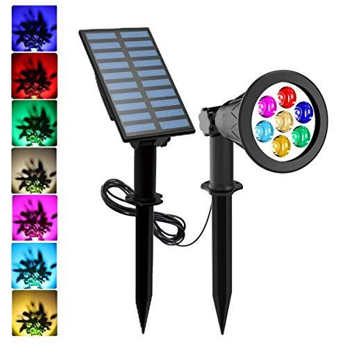Solar Gartenleuchten, T-SUNRISE Mehrfarbige 7 LED Solarleuchte für Außen Solarstrahler Solarlampen Garten mit 2 Helligkeitsstufe 7 Farbwechsel IP65 Wasserdicht Separat installiert