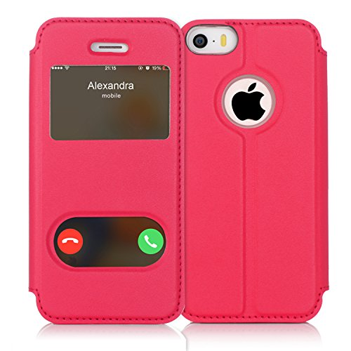 FYY iPhone se Funda, iPhone 5S, iPhone 5Móvil, Funda de Piel sintética ecológica de Calidad (Funda Carcasa Case Cover Funda) para Apple iPhone se/5S/5 A-Magentarot iPhone SE/5S/5