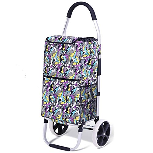 RTTgv Einkaufstrolleys Aluminium Folding Trolley, bewegliche Einkaufswagen, Leichte Abriebfest und leicht Mikrofaser Material, Home Shopping Trolley (Color : A)