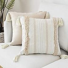 Fundas de cojín modernas Lomohoo con borlas geométricas de punto para decorar sofás, camas o salas de estar