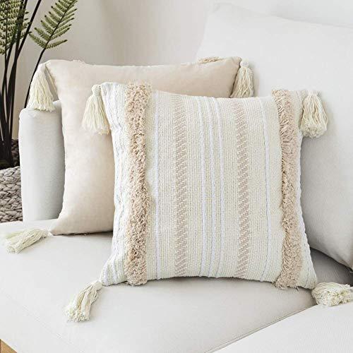 LOMOHOO - Funda de cojín moderna con borlas y punto geométrico para decoración del hogar, de color beige liso,para sofá o silla, cama, sala de estar, algodón, 45cmX45cm