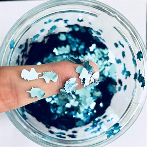 Ultradunne 3D-nagellak 5 * 8mm Eenhoorn Laser Glitter PET-pailletten Paillettes Milieuvriendelijke losse pailletten voor nail art-decoratie 8g, Silod-blauw
