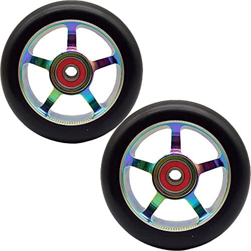 GAOJJ Pro Scooter Wheels 100 mm - Ruedas de Scooter 1 Juego de 2 - Rodamientos de Ruedas Pro Scooter instalados - Aleación de Aluminio 6061-88A PU - Piezas de Scooter,Colorful b