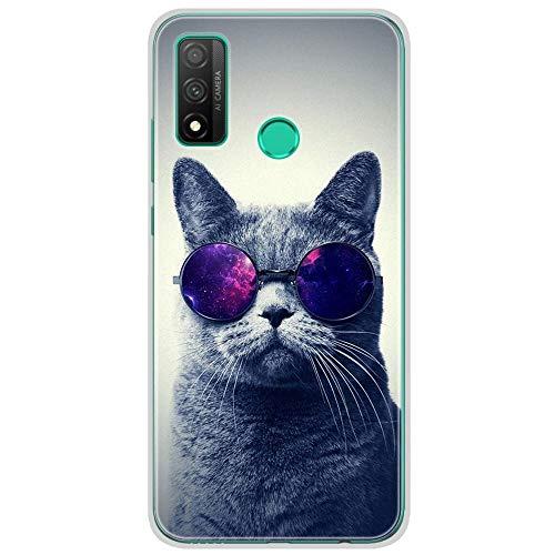 1001coques - Carcasa de silicona para Huawei P Smart 2020, diseño de gato con gafas