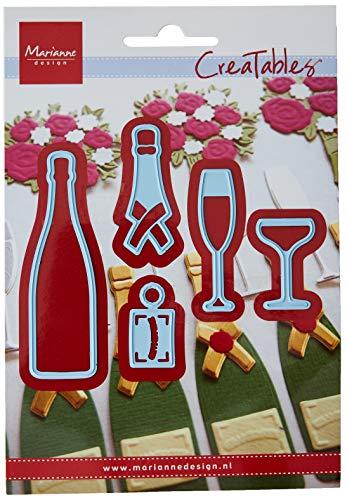 Marianne Design Champagne creatables Plantillas de Corte y Embossing, champán, para proyectos de Manualidades de Papel, Metal, Azul, 110x160