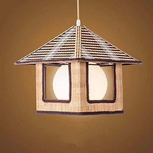 TAIDENG Lámpara de ratán de estilo rústico Chandelier Vintage Bambú trenzado Luz de lámpara de colgante Diámetro 36 * 29 cm Decoración del restaurante