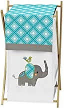 Sweet Jojo Designs Baby/Kids Clothes Laundry Hamper for Turquoise White and Gray Mod Elephant Girl/Boy Bedding