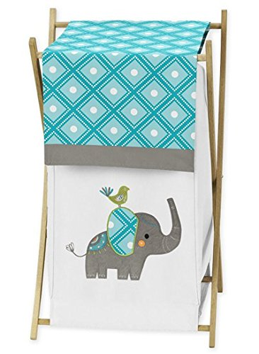 Sweet Jojo Designs Baby/Kids Clothes Laundry Hamper for Turquoise Blue Gray and White Mod Elephant Girl or Boy Bedding