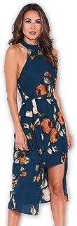AX Paris Women's Floral Wrap Skirt Cut in Neck Dress