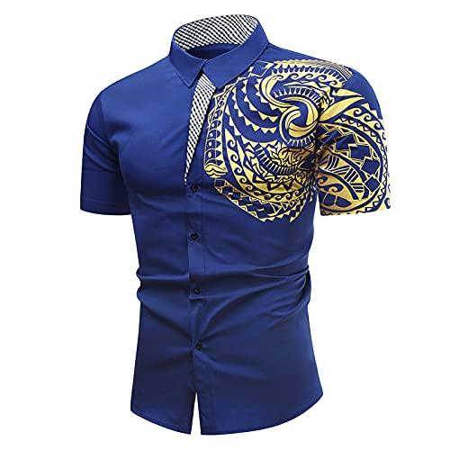 Heren hemd met korte mouwen zomer casual borst tattoo bronzing print knoop shirt korte mouwen korte opstaande kraag vrije tijd licht shirts tops slim fit