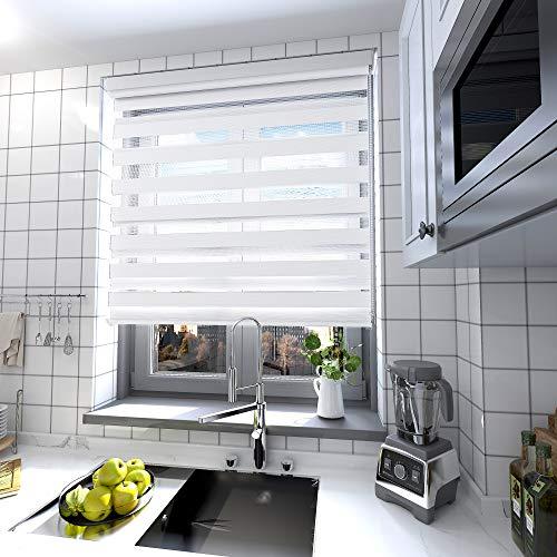 interGo Doppelrollo Klemmfix Ohne Bohren, B100cm x H150cm Duo Rollo mit Aluminium Kassette, Seitenzugrollo Easyfix für Fenster & Türen - Weiß