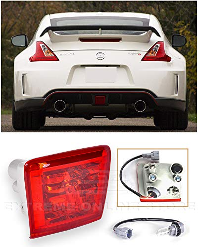 Extreme Online Store Replacement for 2009-Present Nissan 370Z Z34 Fairlady | JDM Crystal RED Lens Rear Driving Fog Light Reverse Back Up Tail Lamp (Red Lens)